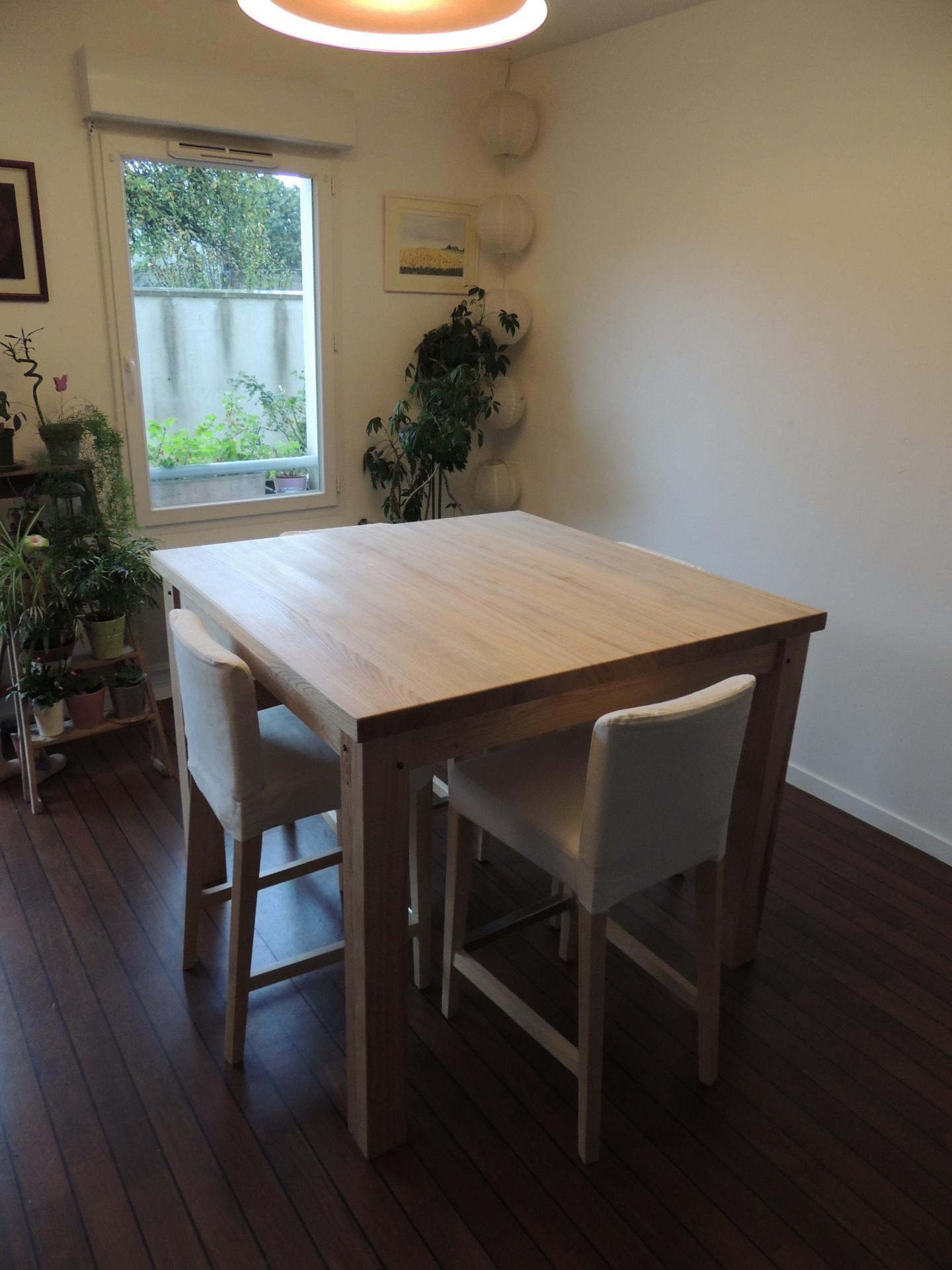 Table au plateau à 96 cm de hauteur